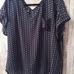 Maurices blouse, semi sheer. Pocket, short sleeve